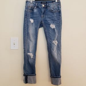 VIGOSS Distressed Skinny Cropped Jeans